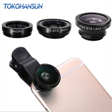 цена на Universal Fish Eye 3 in 1 Smartphone Camera Lens Wide Angle Macro Mobile Phone Lens For iPhone 7 6 5 4 8 Plus Xiaomi Huawei