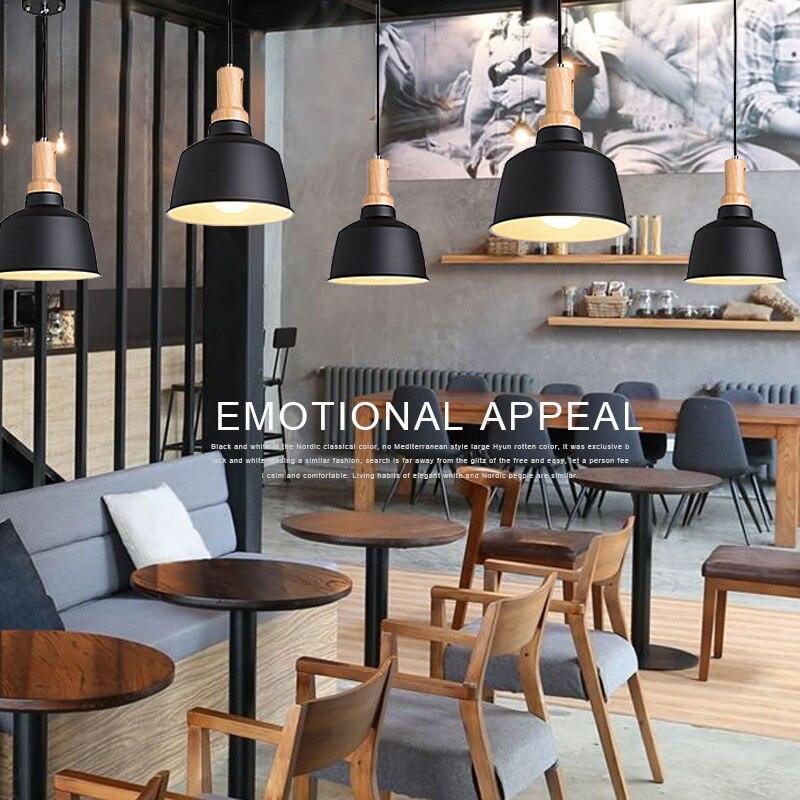 Dia 225mm Pendant lights Wood Metal Lamp Restaurant Bar Coffee Dining Room E27 Hanging Light Fixture WPL064