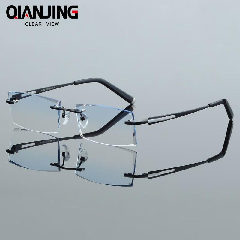 Hommes Mode Lunettes Lunettes Sans Monture de Titane Cadre Diamant Décorations Optique Cadre avec Prescription Verre NOUVEAU oculos 6607
