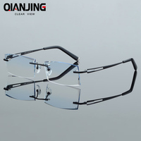 Men Fashion Glasses Titanium Rimless Eyeglasses Frame Diamond Decorations Optical Frame with Prescription Glass NEW oculos 6607