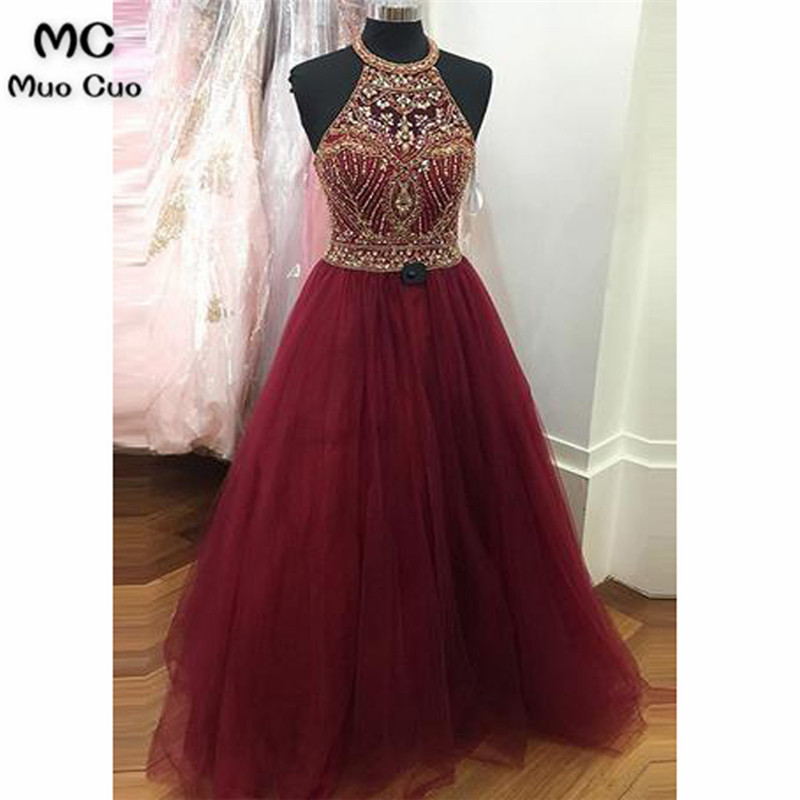 2018 Burgundy   Prom     dresses   Long with Beaded Crystals Tulle Halter   dress   for graduation Formal Evening   Prom     Dress