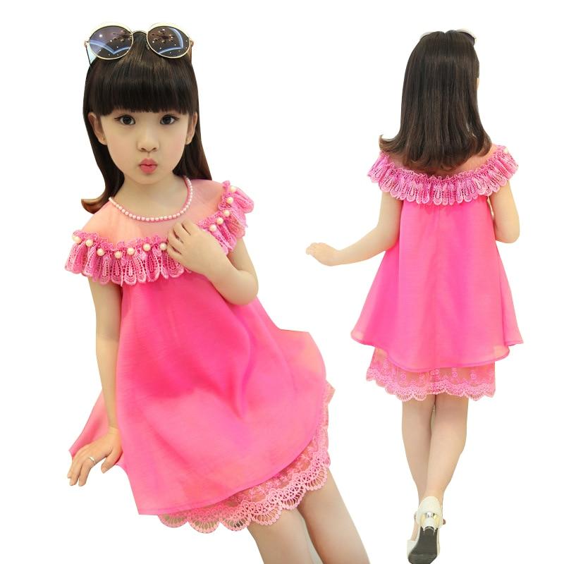 2018 Summer Girls Princess Dress Childrens Evening Clothing Kids Chiffon Lace Dresses Ba ...