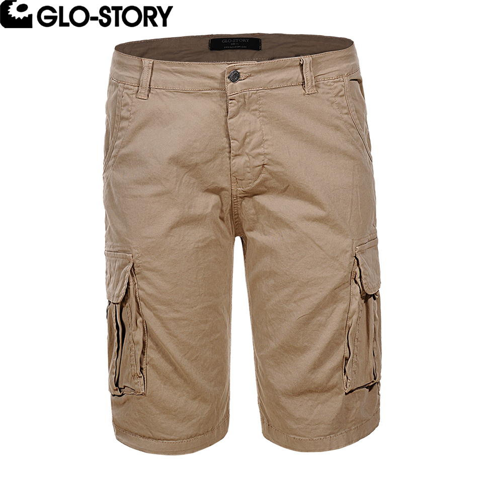 GLO-STORY Men 2018 Summer Cargo Shorts Man Casual Streetwear Cotton Bermudas Shorte Masculina M-2XL MMK-6233