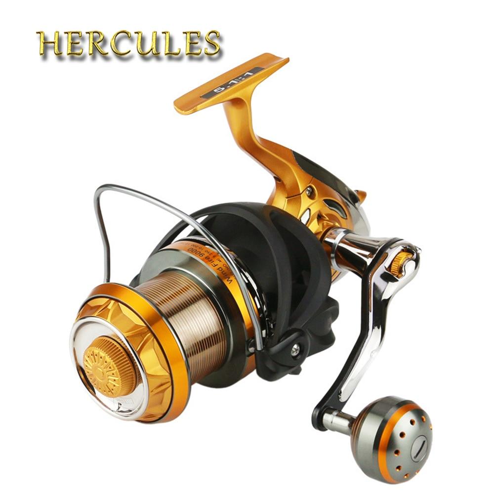 цена на Hercules Carbon Fish Reel G-Ratio 5.1:1 Spinning Fishing Reel Crank Handle Carp Steering 9+1 BB Fishing Reels Wheel