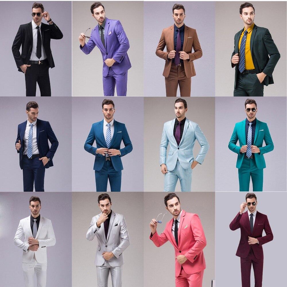 Men's Clothing ... Suits & Blazers ... 32785294239 ... 2 ... OSCN7 12 Color 2pcs Slim Fit Suits Men Notch Lapel Business Wedding Groom Leisure Tuxedo 2019 Latest Coat Pant Designs S-4XL ...