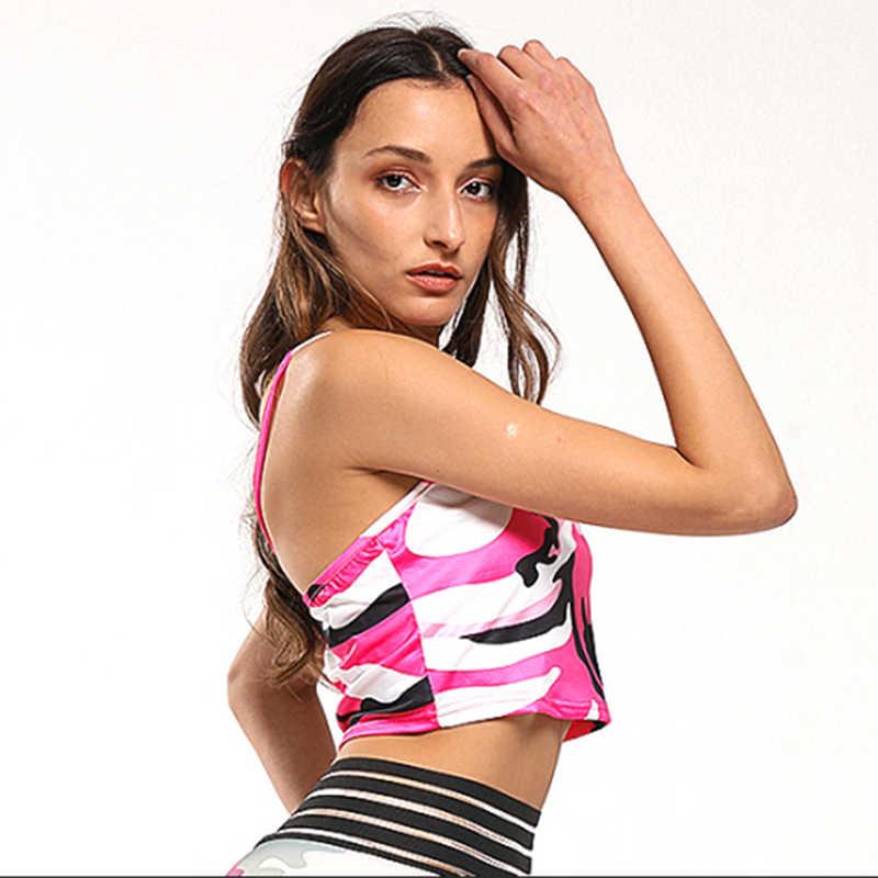 יבול למעלה נשים הסוואה הדפסת כותנה Clubwear אפוד חולצות נשים סקסי כבוי כתף קיץ חולצה