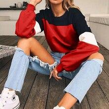 Women O-neck Long Sleeve Sweatshirt Casual Splcing Color Pullover Autumn Patchwork  Sweatshirts цена и фото