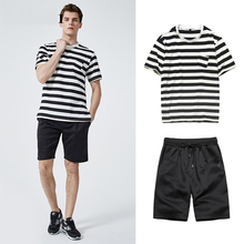 Casual Men Two Pieces set 2xl Sporting Suit 2019 Summer Thin Set Striped Tracksuit T shirts+Shorts Sets Male Sweat
