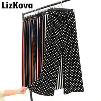 2019 летние широкие брюки женские корейские полосатые брюки в горошек женские брюки длиной до щиколотки брюки с колокольчиком