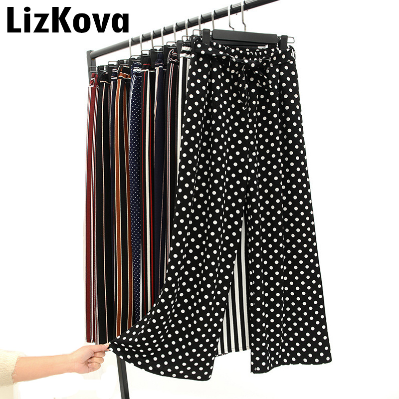 2019 Summer Wide Leg Pants Women Korean Striped Polka Dot Trousers Woman Ankle Length Pants Bell Bottom Pantalones Mujer