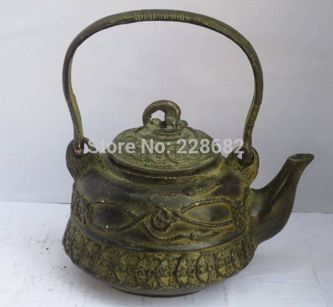 Collectible Chinese Old Bronze Carved Coin Teapot /flagon Chinese Pot fast Shipping 002