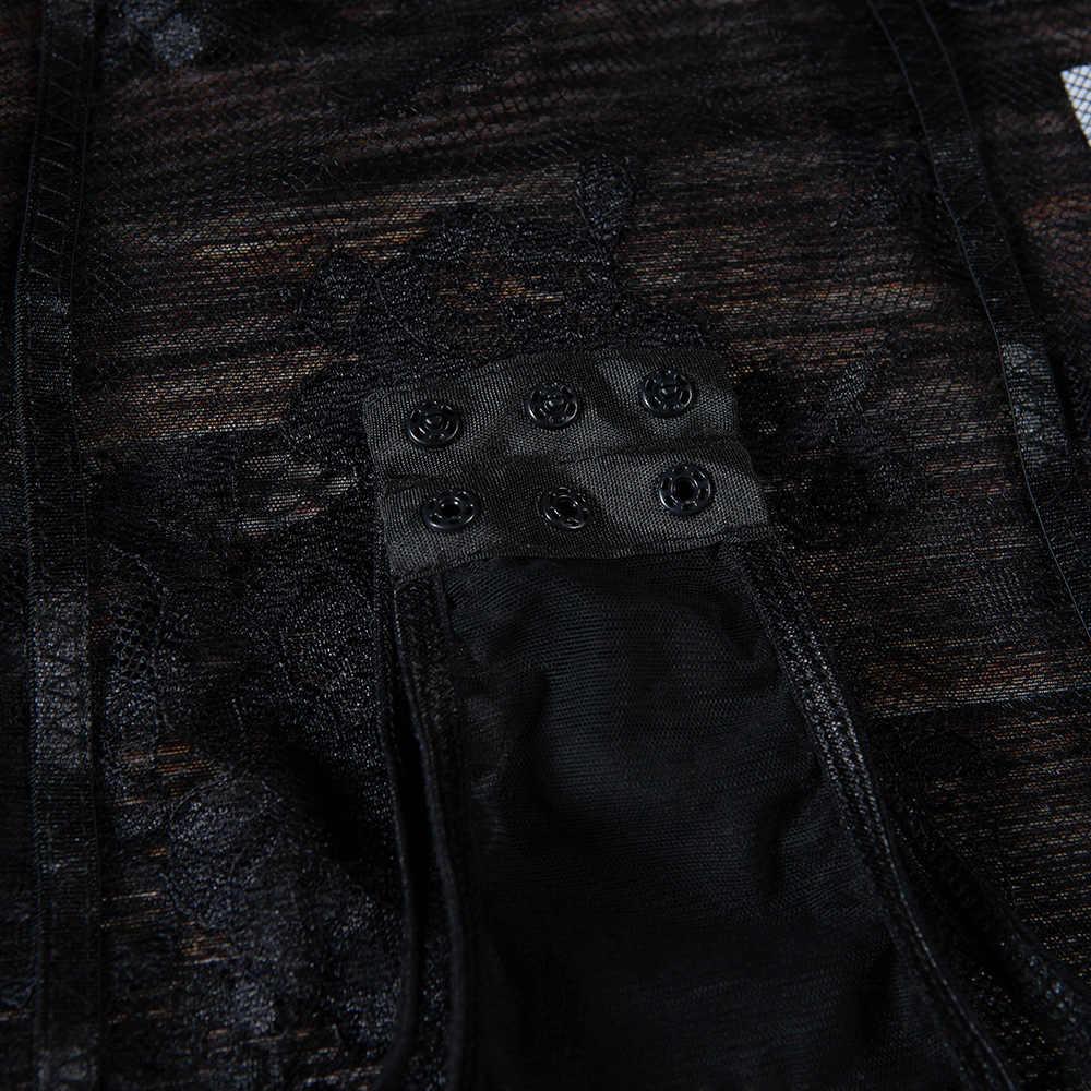 Gagaopt Кружевное боди Женская мода цветочные Вышитые пикантные боди белая/черная сетка комбинезон одежда для сна