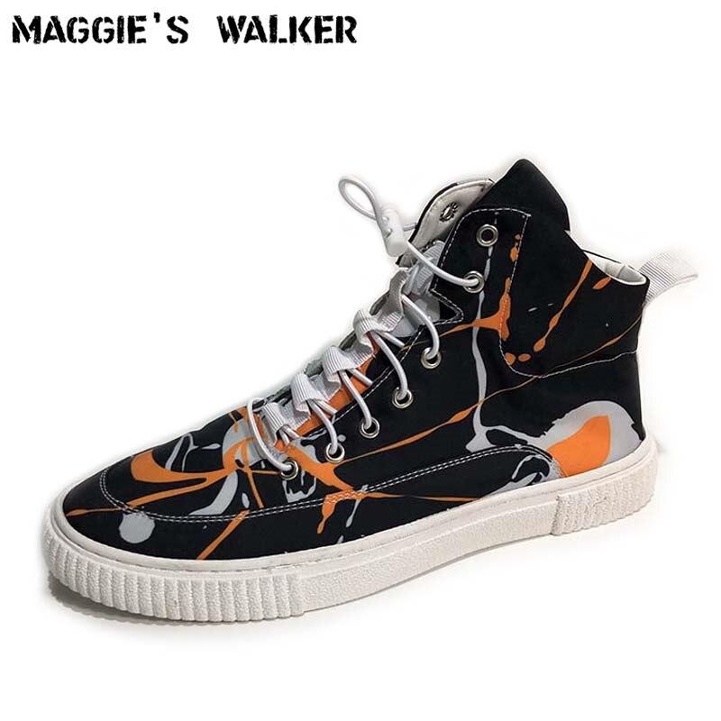 Maggie's Walker nouveauté hommes toile chaussures décontractées mode laçage Floral plate-forme haut-haut toile chaussures de marche taille 39 ~ 43