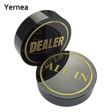 Yernea High-quality Texas Poker Chips Dealer Black Crystal All In Baccarat Button  Gold Word Accessories
