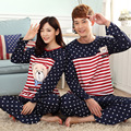 spring and autumn new long-sleeved striped cotton lovers sleepwear cartoon Dongkuan men and women casual clothes at home suit