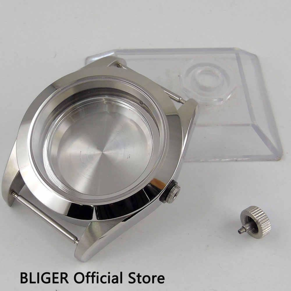 """מוצק 316L נירוסטה 41 מ""""מ ספיר זכוכית שעון מקרה Fit ETA 2836 MIYOTA 8215 תנועה אוטומטית C7"""