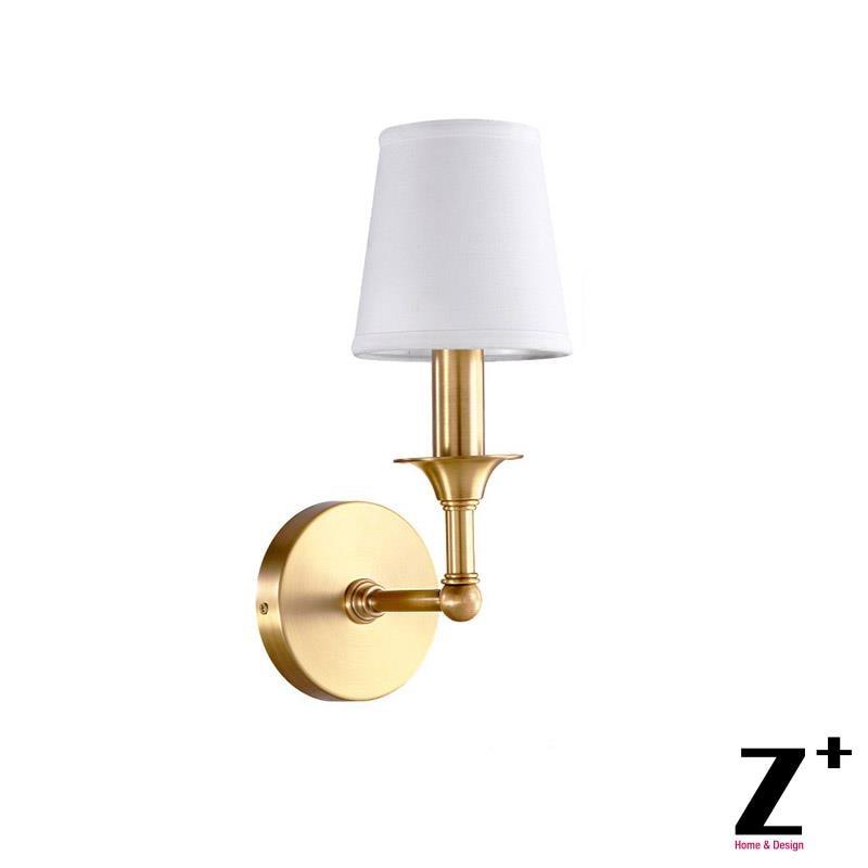 Новый Классический качественный латунный льняной абажур винтажный Кантри Стиль Спальня отель Винтажный Золотой цвет настенный светильник