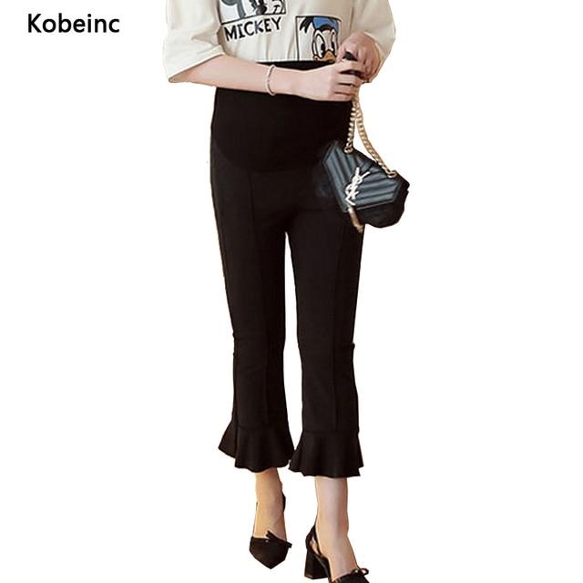 Мода Flare Материнства Брюки Уход Живота Обрезанные Брюки Для Беременных Женщин Сплошной Цвет Беременности Брюки Pantalon Де Grossesse