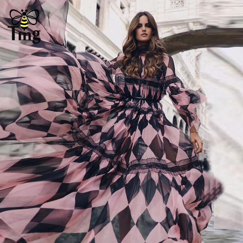ddaf9f5bcd2ba Tingfly 2019 Spring Summer Designer Runway Diamond Chiffon Maxi Dress Lace  Patchwork Long Party Dresses with Sashes Vestidos New