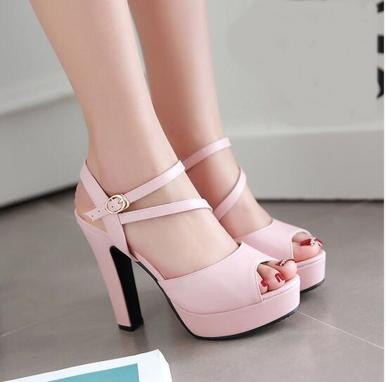 ФОТО Summer Classics Style Young Lovely Girl's Pink Color Dress Shoes Platform High Heel Peep Toe Sandals Cross Ankle Strappy Sandals