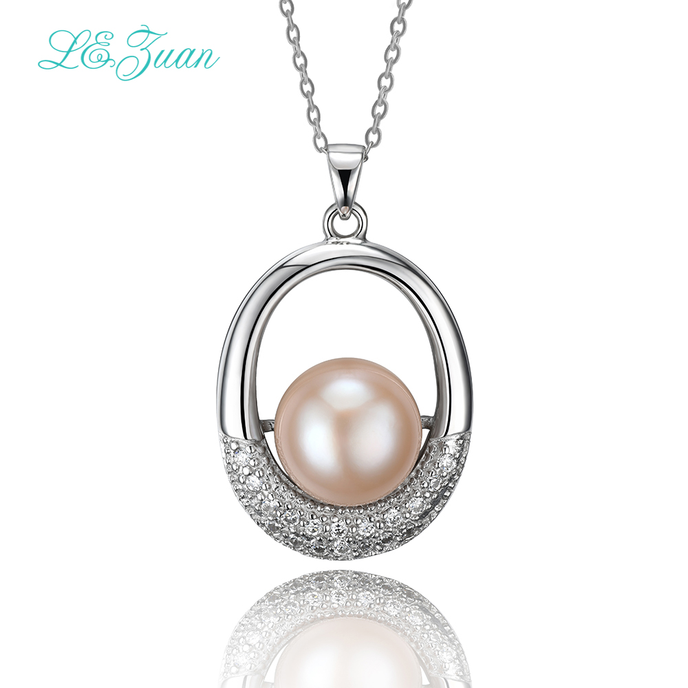 L&zuan Natural Freshwater Pearl Pendant Romantic Luxury 925 Silver Pendant Necklace For Women Sterling Sliver Jewelry