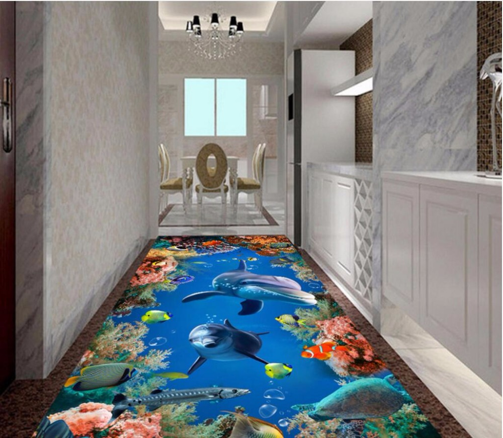 Custom mural 3d flooring picture pvc self adhesive for Custom mural painting