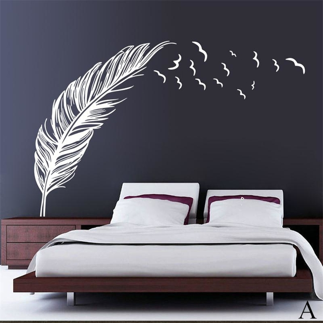 classic left right flying feather home decal wall sticker/wedding decoration gifts adesivo de parede ZY8408