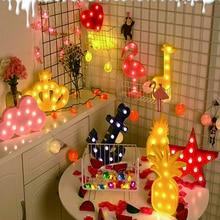 wedding decoration LED Night Light White Plastic Letter 3D Flamingo Pineapple Cactus Night Lights Unicorn Party Wall Decor