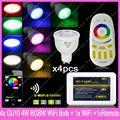 4x2.4g sem fio gu10 mi. light 5 w rgbw/rgbww levou lâmpada lâmpada AC85-265V + 1x Wi-fi iBox2 + 1xRF 4-Zone Grupo Toque Controle Remoto