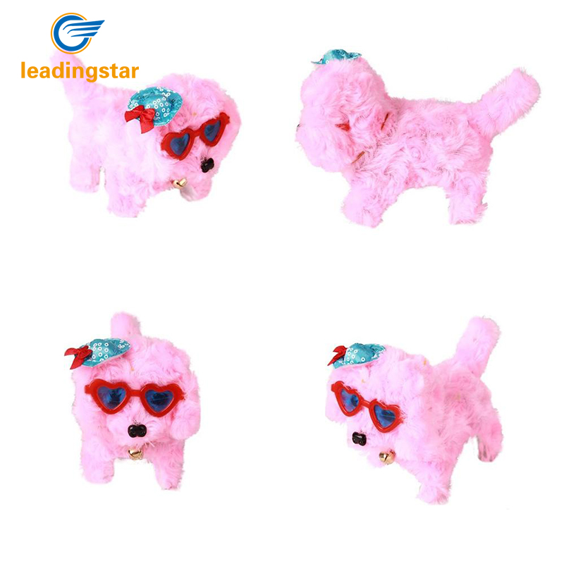 RCtown Funny Toy Electric Stuffed Curly Fluff Dog Luminous Eyes Barking Walk Forward Backward Doll Gift With Glasses Hat
