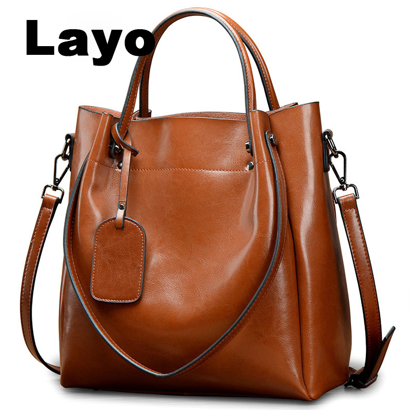 Layo Women Shoulder bag Crossbody Bags Genuine Leather Handbags Luxury Lady Hand Bags With Purse Pocket messenger bag Big Tote women bag oil wax women s leather handbags luxury lady hand bags with purse pocket women messenger bag big tote sac bolsos mujer