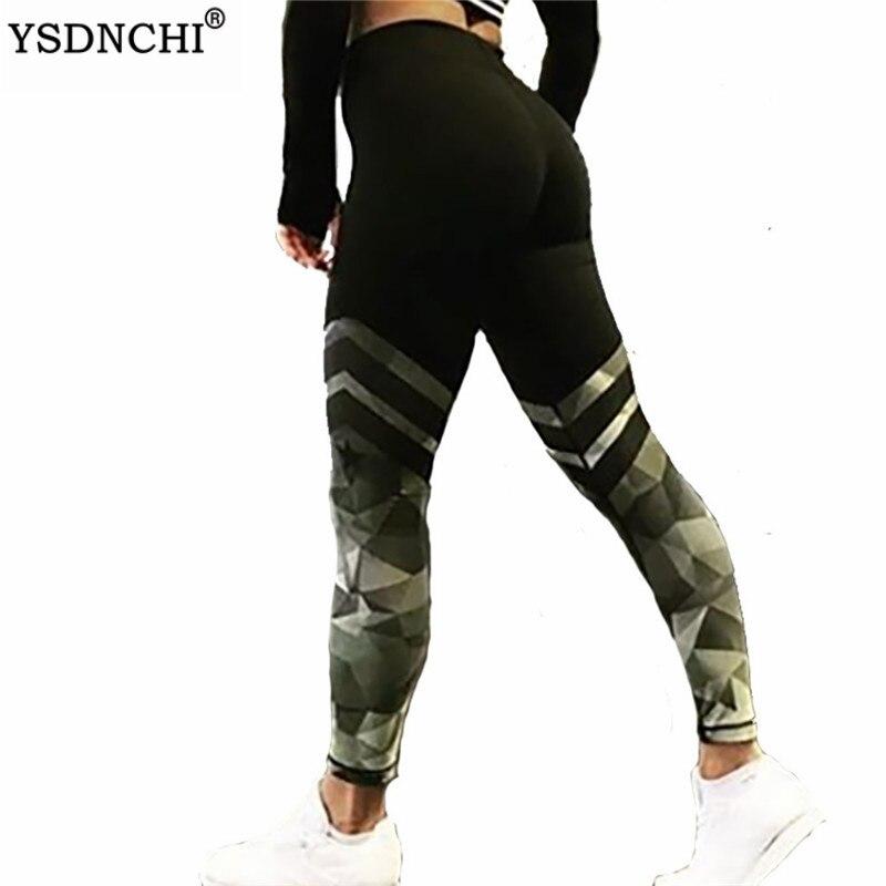 YSDNCHI Push Up Leggings Bodybuilding High Waist Stripe Print Female Sportswear Pants Green Gym Fitness Leggins Women's Leggings