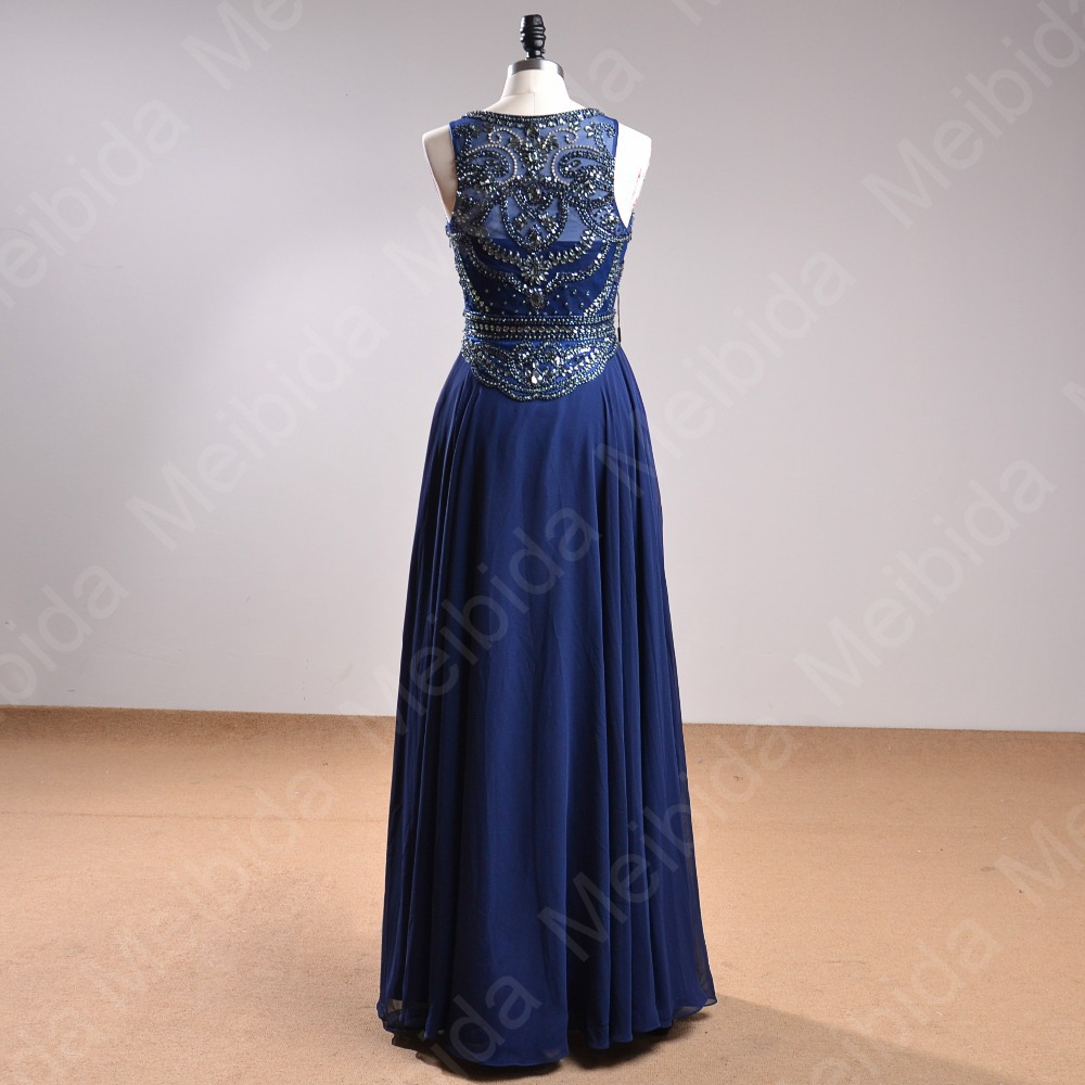 d68ca43a31a8e In Stock Vestido Sereia Royal Blue Party Dresses Elegant Chiffon ...