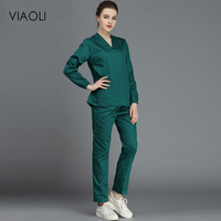 VIAOL dental clinic pet doctor beauty salon overalls 100%cotton medical clothes scrub suits doctor nurse shorts sleeve uniforms