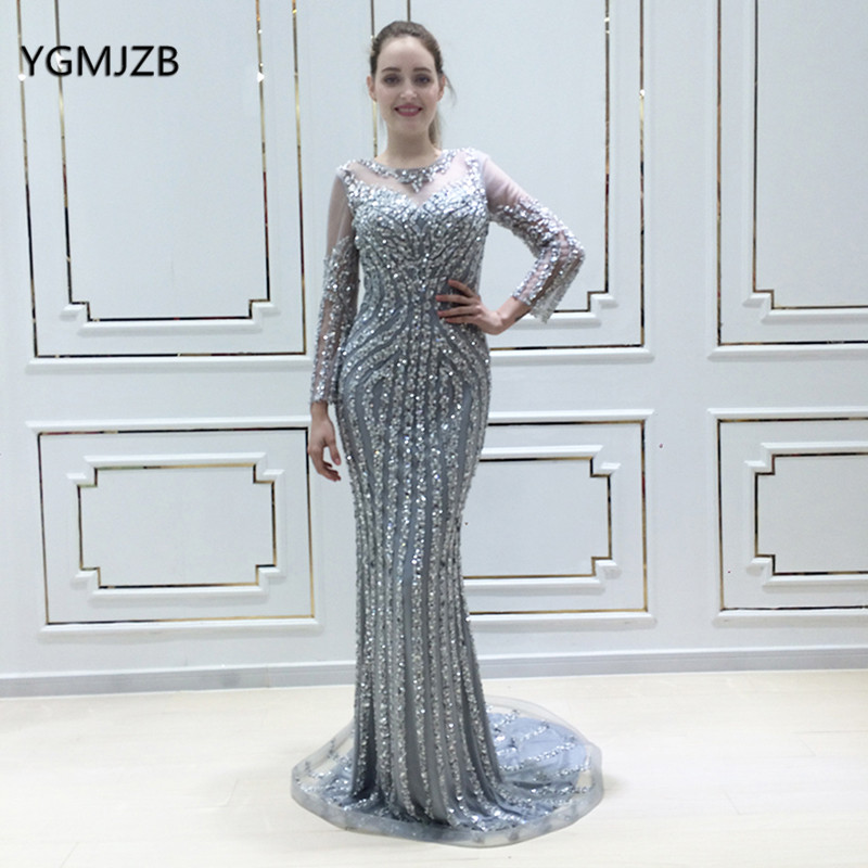 Robe De Soiree 2018 Sequin Luxury Mermaid Evening Dress Long Sleeves with  Crystal Women Arabic Formal Prom Party Gown Real Photo c8aa9c7f3c37