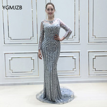 YGMJZB Robe De Soiree Mermaid Evening Dress Long Sleeves