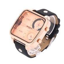 Shiweibao Nodriza de Los Hombres Cronógrafo Hora Dual Reloj de Cuero Marrón