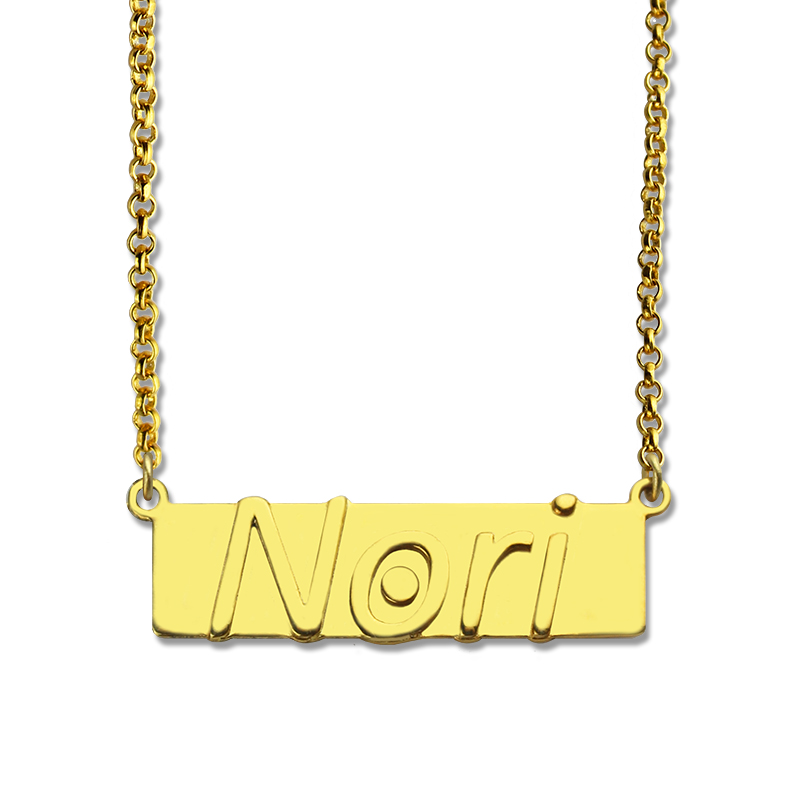 10K Gold Personalized Embossed Name Bar Pendant by JEWLR