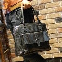 Fashion Men S Genuine Soft Leather Business Travel Bag Laptop Handbag For Macbook 13 3 Leather