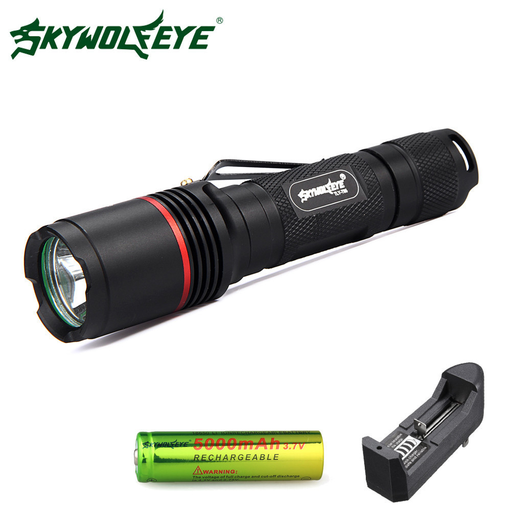 Skywolfeye LED Flashlight 1000Lumen 5 Modes XM-L L2 T6 Aluminium Flash light Focus Torch With 18650 Rechargeable Battery Charger high lumen led flashlight 4 2v cree xml t6 2 18650 battery 5 modes focalize flash lamp 2 18650 batteries battery charger
