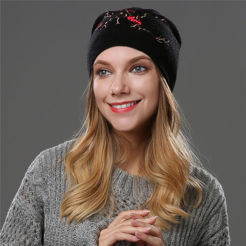 Winter knitted hats for women   Skullies     Beanies   warm lining rhinestons   beanies   hat female brand good quality embroidery wool caps