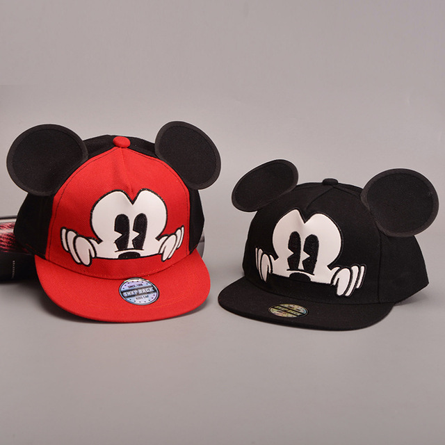 de6291ae143b3 Precioso Niño Orejas de Mickey Snapback Sombrero gorras planas Hip Hop  Sombrero para Bebé Cap Niños