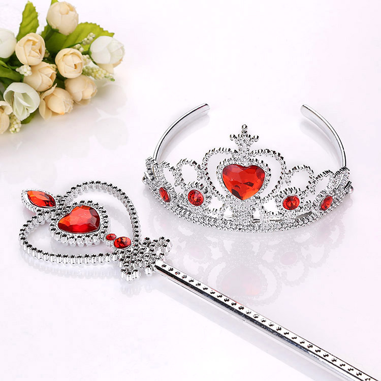 2 Piece/Set Princess Elsa Cosplay Accessories Children Diamond Crowns Tiaras + Magic Wands Kids Christmas Party Gift for Girls