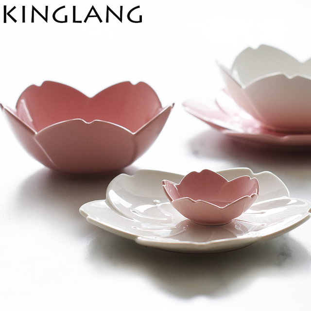 Ceramic sakura dinner set pink kitchen tableware plates flower shape chili sauce dish  sc 1 st  AliExpress.com & Ceramic sakura dinner set pink kitchen tableware plates flower shape ...