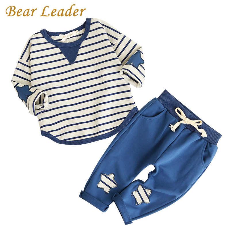 Ayı lideri çocuk seti 2020 bahar moda stil karikatür bebek setleri uzun kollu gömlek + kot pantolon 2 adet erkek giysi çocuk giysileri 1-4y