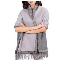 luxury fur poncho women spring autumn winter natural mink fur trim 100% pure cashmere gray double color S25
