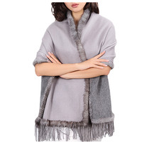 luxury fur poncho women spring autumn winter natural mink fur trim 100% pure cashmere gray double color S25