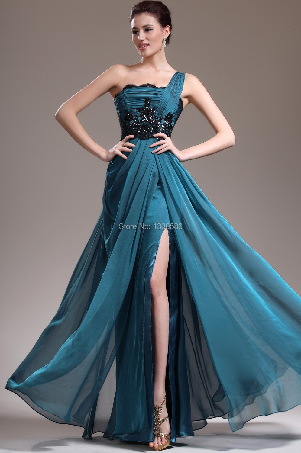 Popular One Shoulder Peacock Prom Dress-Buy Cheap One Shoulder ...