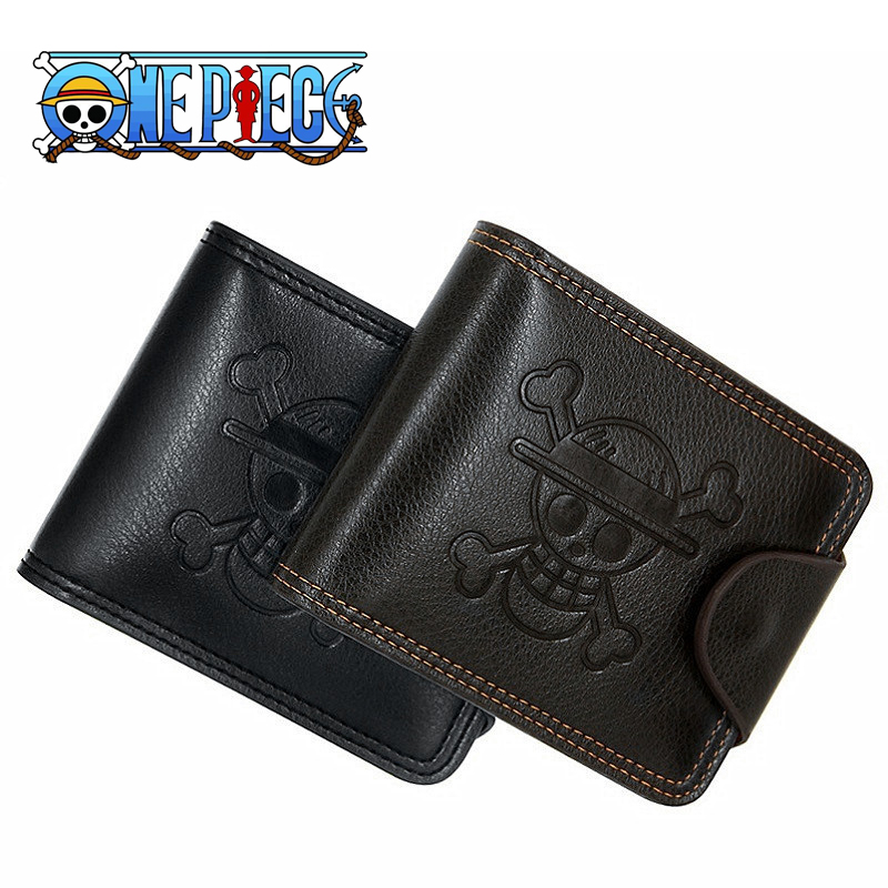 Eraspooky Black Anime ONE PIECE Wallet PU Leather Men Cartoon Small Card Purse Luffy Pirate Skull Cosplay Accessories Gift boys