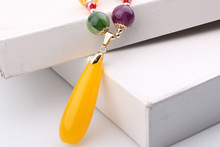 Imitation beeswax long sweater chain Spring and summer wild necklace gift pendant